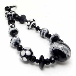 Classic Black and White lampwork beads