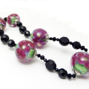 Jan26flowerencasedlampwork necklace