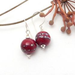 REd silver wire earrings