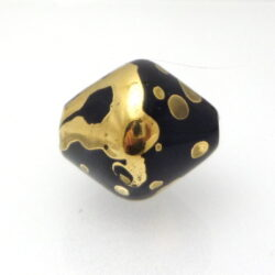 Gold luster hollow lampwork bead