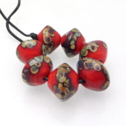 red raku lampwork bicone bead set