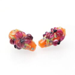 ruby flowers on orange bicone beads