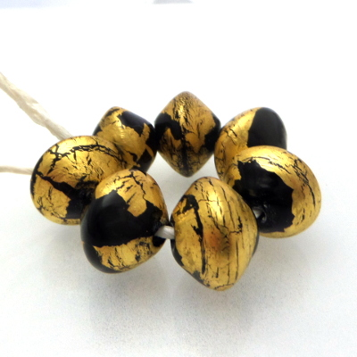 black 24K gold leaf bicone lampwork glass beads