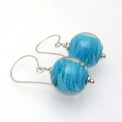 Blue twisty cased clear glass earrings