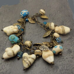Ivory Silvered Goddess and Heart lampwork bracelet
