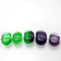 green purple tabular lampwork beads