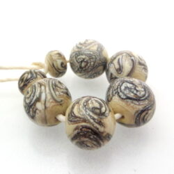 Ivory Silvered stringer lampwork glass beads