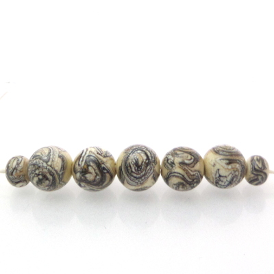 silvered ivory glass beads