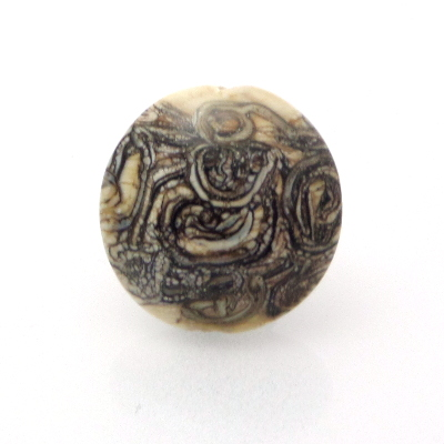 Silvered Ivory Stringer Lentil Glass Bead