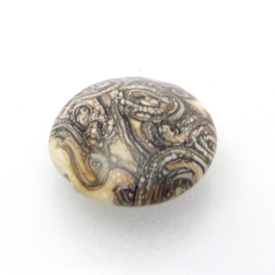 ivory silvered stringer lentil glass bead