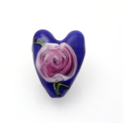 Lapis Blue Ruby Rosette Heart