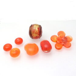 Orange inspiration transparent glass bead set