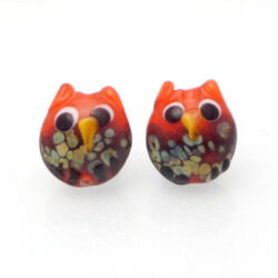 orange owl glass earring pair