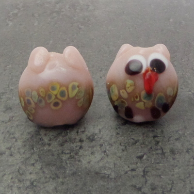 earring lampwork glass bead pair