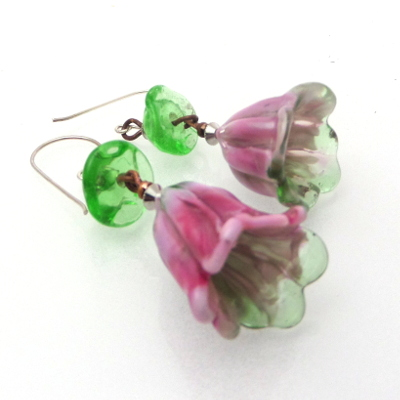 lampwork flower glass earrings as gifts
