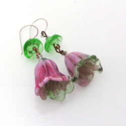 ruby pink grass green lampwork flower earrings