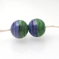 green purple twisty earring pair