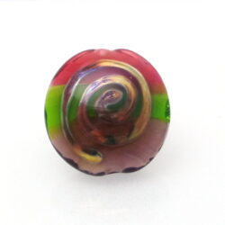 ruby green purple focal lampwork bead