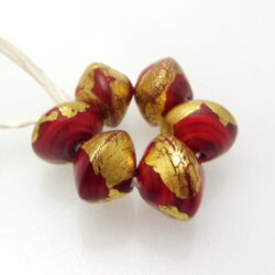 red 24K gold leaf bicone glass beads