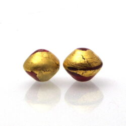 gold leaf bicone red bead pair