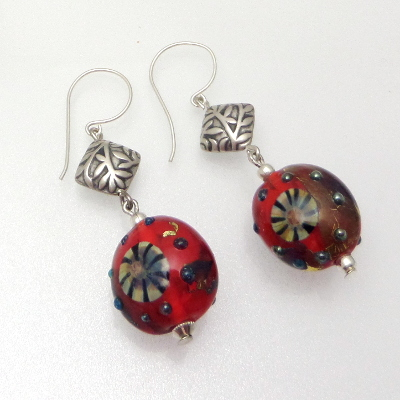 Red murrini silver glass earring pair