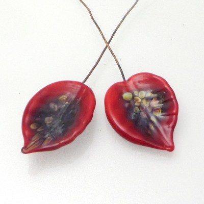 red raku glass lampwork leaves