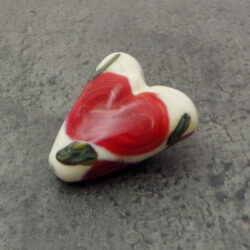 handmade glass red rosette ivory heart