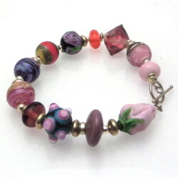 rose pink purple lampwork glass bracelet