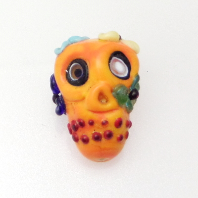 Sugar Skull Glass Bead