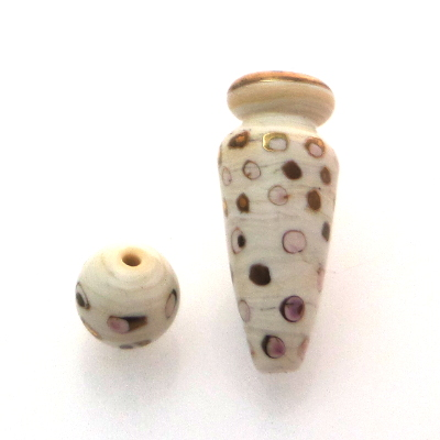 lampwork glass ivory vessel bead with gold luster