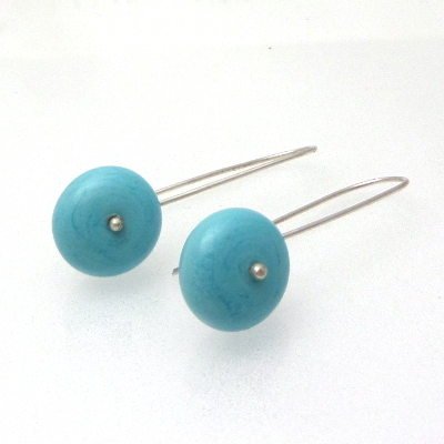 Silver glass turquoise glass earrings