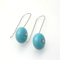 Turquoise Disc Silver Earrings
