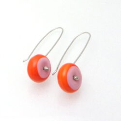 Pink orange silver earrings