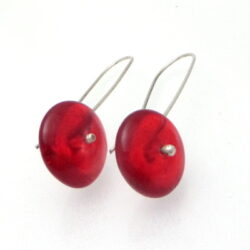 red glass disc earrings